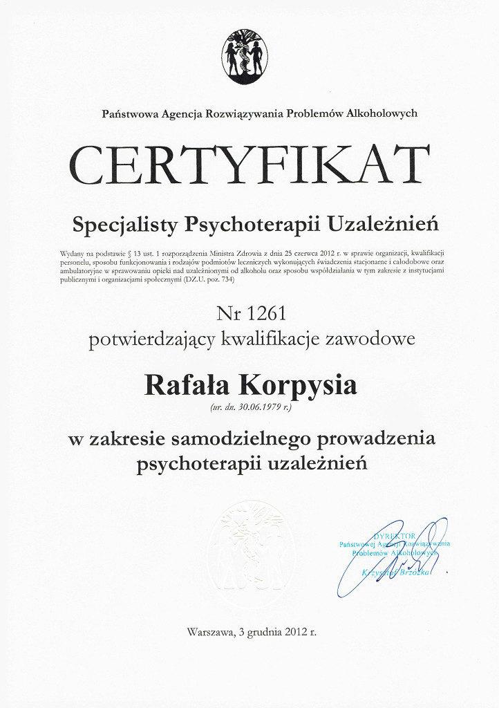 PARPA Specjalista Psychoterapii Uzależnień