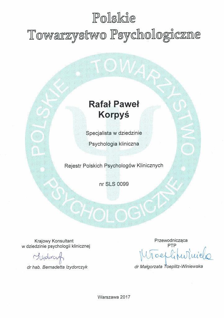 Polskie Towarzystwo Psychologiczne Rejestr Polskich Psychologów Klinicznych